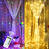 MAGGIFT 304 LED Curtain String Lights, 9.8 x 9.8 ft, Christmas Window Fairy RGB Color Changing Light 8 Modes & Remote, Backdr
