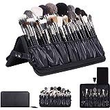 Rownyeon Professional Makeup Brushes Organizer Bag Makeup Artist Cosmetic Case Leather Makeup Handbag Black Travel Portable(O