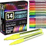 14 Pack Neon Fluorescent Acrylic Paint Pens, Double Pack of Both Extra Fine and Medium Tip Paint Markers, for Rock Painting,