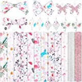 12 Pieces Flamingo Floral Printed Faux Leather Sheets Glitter Faux Leather Fabric Sheet with Canvas and Cotton Back Printed S