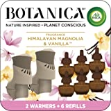 Botanica by Air Wick Plug in Scented Oil Starter Kit, 2 Warmers + 6 Refills, Himalayan Magnolia and Vanilla, Air Freshener, E