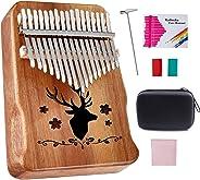 Topnaca カリンバ Kalimba 17キー アフリカ楽器 親指ピアノ 17音 天然木 アカシア ナチュラル 簡単 日本語説明書 チューニングハンマー EVA高性能収納 (オフホワイト)