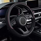 KAFEEK Steering Wheel Cover, Universal 15 inch, Microfiber Leather Viscose, Breathable, Anti-Slip,Warm in Winter and Cool in
