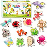 HLXY Refrigerator Magnets for Kids 64 PCS Animals Magnets Toys -Dinosaurs Insect Ocean Sea Animal Magnets - Foam Animal -Frid