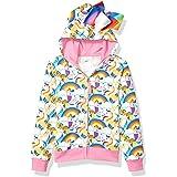 JoJo Siwa Girls Unicorns & Rainbows All Over Print Zip Up Hoodie with Bow Long Sleeve Hooded Sweatshirt - Multi