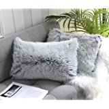 Uhomy 2 Packs Home Decorative Luxury Series Super Soft Faux Fur Rectangular Throw Pillow Cover Furry Cushion Case for Sofa or
