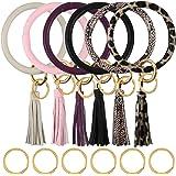 Habbi 6 Pack Wristlet Keychain Bracelet with Tassel, Leather Bracelet Bangle Key Ring for Women Girl, 4 Inches
