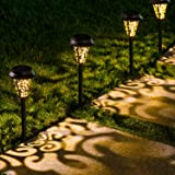 LeiDrail Solar Pathway Lights Outdoor Garden Path Light Warm White LED Black Metal Stake Landscape Lighting Waterproof for Ha