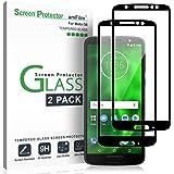 amFilm Moto G6 Screen Protector Glass (2 Pack), Full Cover Tempered Glass Screen Protector with Dot Matrix for Motorola Moto