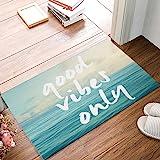 """CHARMHOME Blue Sea Art Funny Good Vibes Only Quotes Doormat Door Mat Rug Indoor/Floor Mat Rug Home/Office/Bedroom(18"""" X 30"""",W"""