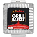 Grillaholics Grill Basket - Large Grilling Basket for More Vegetables - Heavy Duty Stainless Steel Grilling Accessories Built