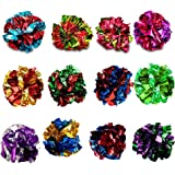 SunGrow Mylar Crinkle Balls for Cats, 1.5 - 2 Inches, Shiny and Stress Buster Toy, Lightweight and Suitable for Multiple Cats