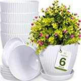 Botanica's Best 6 inch Plant Pots for Plants - Set of 6 White Modern Indoor and Outdoor Plastic Planter Flower Pot for Office