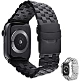 Bullstrap Metal Band for Apple Watch 44mm/42mm/40mm/38mm | 316L Stainless Steel | Series 1-5 (Black Edition, 40/38mm)
