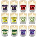 Housecret Pack of 12 Luxury Highly Scented Candles Gift Set with 6 Fragrances for Home and Women, Aromatherapy Soy Wax Glass