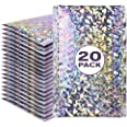 Holographic Silver Bubble Mailer, Self-Sealing Holo Metallic Beautiful Colored Poly Padded Colorful Shipping Envelopes Set of