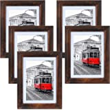 QUTREY Picture Frames 5x7 Rustic Brown Frame Set Fits Photos 5 by 7 Inch with Mat or 6x8 Without Mat for Wall Mount and Table