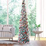 Fonder Mols 5ft Collapsible Artificial Christmas Tree, Pop Up Silver Tinsel Coastal Christmas Tree for Holiday Carnival Party