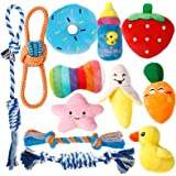 Toozey Puppy Toys for Teething Small Dogs, 12 Pack Cute Small Dog Toys, Stuffed Plush Squeaky Dog Toys Small Dogs, 100% Natur