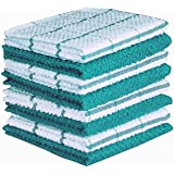 CASA DECORS Terry Kitchen Dishcloth Set of 8 (12 x 12 Inches), Turquoise, 100% Cotton, Highly Absorbent, Machine Washable