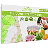 Reusable Silicone Stretch Lids Food Covers by Envirix (Pack of 16) | Reusable Eco Insta Lids for Microwave - Dishes - Bowls -