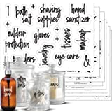 Script Bathroom Beauty Preprinted Labels, Organization Set. 105 Clear Script Stickers by Talented Kitchen. 105 Water Resistan