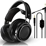 Philips Audio Fidelio X2HR Over-Ear Open-Air Headphone 50mm Drivers (Black) + NeeGo Attachable Microphone for Headphones - Ga