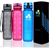 RIVERMOUNT - 1L Motivational Water Bottle with Time Markings and Smart Hydration Tracker - Leak Proof, Flip Top Lid, BPA Free
