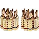 Monoprice 121820 24k Gold Plated Speaker Banana Plugs, Closed Screw Type (10 Pairs)