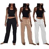 Sexy Basics Women's 3 Pack Soft Flex-Cotton Knit Pajama Pants/Lounge Pants/Sleep Pants