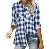 Tencole Women Long Sleeve Roll Up Shirts Collared Button Down Plaid Flannel Tops