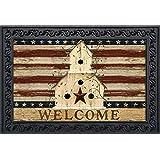 """Briarwood Lane Americana Welcome Doormat Patriotic Primitive Birdhouse Indoor Outdoor 18""""x30"""""""