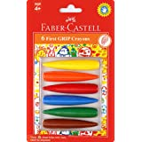 Faber-Castell First Grip Erasable Wax Crayons 6 Pieces, Assorted, (21-122706)