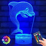 Menzee Dolphin 3D Night Light for Kids,3D Lamp Optical Illusion with Remote Control&Smart Touch 7 Colors 16 Colors Changing D