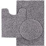 HOMEIDEAS 3 Pieces Bathroom Rugs Set Grey, Includes U-Shaped Contour Toilet Mat, Bath Mat and Shaggy Toilet Lid Cover, Machin