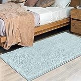 MAYSHINE 31x59 inch Non-Slip Mat Area Rug Chenille Soft Microfber Living Room Bedroom Carpet - Spa Blue