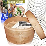 "10"" Bamboo Steamer/ 2 Tiers & Lid by Cuisine Natural -Incl. 20 Bonus Liner Papers 