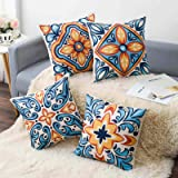 Wyooxoo Decorative Pillow Covers Set of 4,18x18, Square Sofa Throw Pillow Covers Made of 100% Cotton Flax Material,for Bed, S