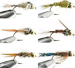 GoFly 管理釣り場、渓流定番のビーズヘッドニンフセット #12 6種 6本セット