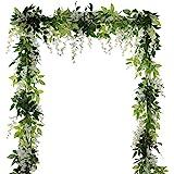 (White) - 4Pcs 2m/Piece Artificial Flowers Silk Wisteria Garland-Dearhouse Artificial Wisteria Vine Ratta Silk Hanging Flower