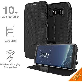 【Gear4】Samsung Galaxy S8 Plus ケース 手帳型 OXFORD 英国発人気ブランド 冬季五輪スキー競技や米特殊部隊でも使用のD3Oテクノロジー採用 衝撃吸収 落下 耐衝撃 カード収納 スタンド機能 ギャラクシーS8プラス 手帳型ケース カバー (Galaxy S8 Plus、ブラック)