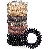 Kitsch 8 Piece Hair Coil Set, Best Value Phone Cord Hair Tie (Brunette)