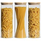 ComSaf Glass Spaghetti Pasta Storage Container with Lids 74oz Set of 3, Tall Clear Airtight Food Storage Jar with Bamboo Cove
