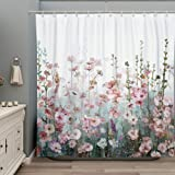 SUMGAR Colorful Flowers Shower Curtain for Bathroom Pink Floral Romantic Wildflower Plants Nature Scenery Decoration Curtain