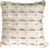 satTva Cushions Covers - Decorative Throw Pillow Covers for Living Room Sofa 45x45- White 𝐓𝐞𝐱𝐭𝐮𝐫𝐞𝐝 𝐏𝐫𝐞𝐦𝐢𝐮𝐦 Cot