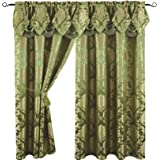 Luxury Jacquard Curtain Panel with Attached Waterfall Valance, 54 by 84-Inch Angelina Sage