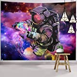 Hexagram Trippy Astronaut Tapestry Wall Hanging Fantasy Galaxy Tapestry Hippie Wall Art Colorful Space Wall Tapestry Home Dec