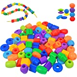 KUTOI Plastic Lacing Beads for Toddlers with Fun Shapes, Long String, and Brilliant Colors for Early Learning and Educational