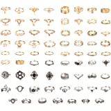 Udalyn 70PCS Vintage Knuckle Rings for Women Stackable Rings Set Gold Silver Joint Midi Finger Ring Hollow Carved Retro Boho