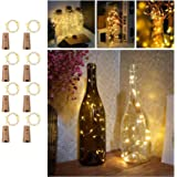 Wine Bottles String Lights with Cork, TERSELY[8 Pack] 2M 20 LED Warm White Waterproof Silver Wire Battery Starry Fairy Light